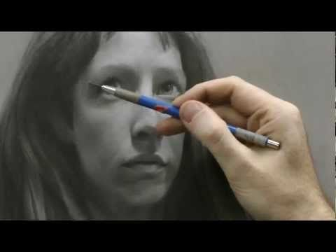 portrait drawing video with instructional commentary